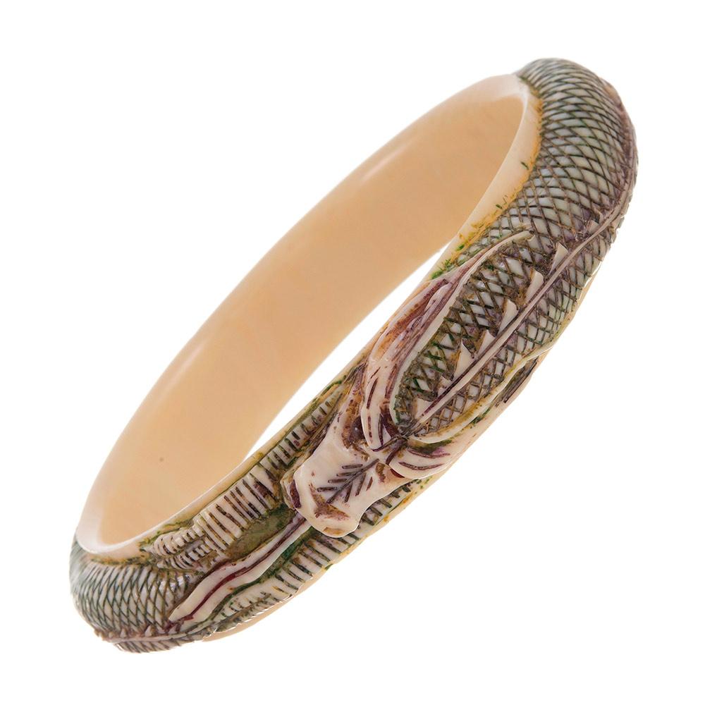 Carved Bone Dragon Motif Bangle Bracelet C1920 Fourtane
