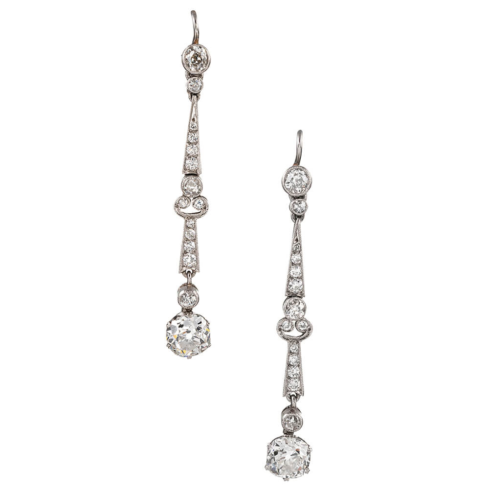 Art Deco Style Diamond Drop Earrings Fourtane