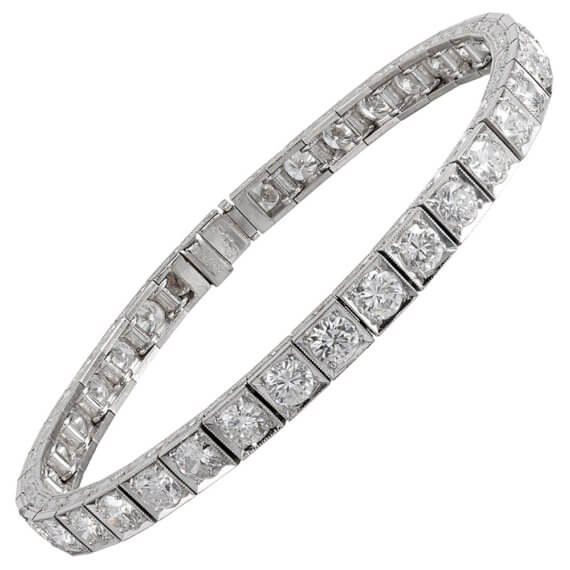 "French Art Deco 12 Carat Diamond ""Block"" Line Bracelet"