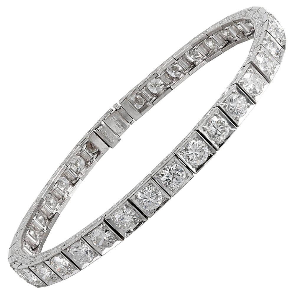 "French Art Deco 12 Carat Diamond ""Block"" Line Bracelet"